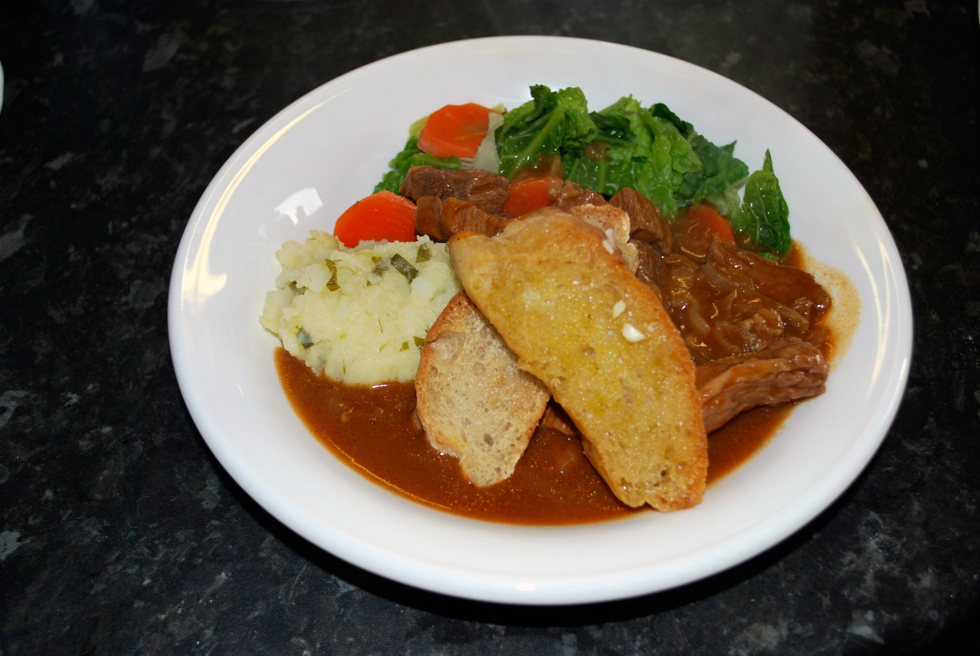 Beef in Guinness with Garlic Croutes