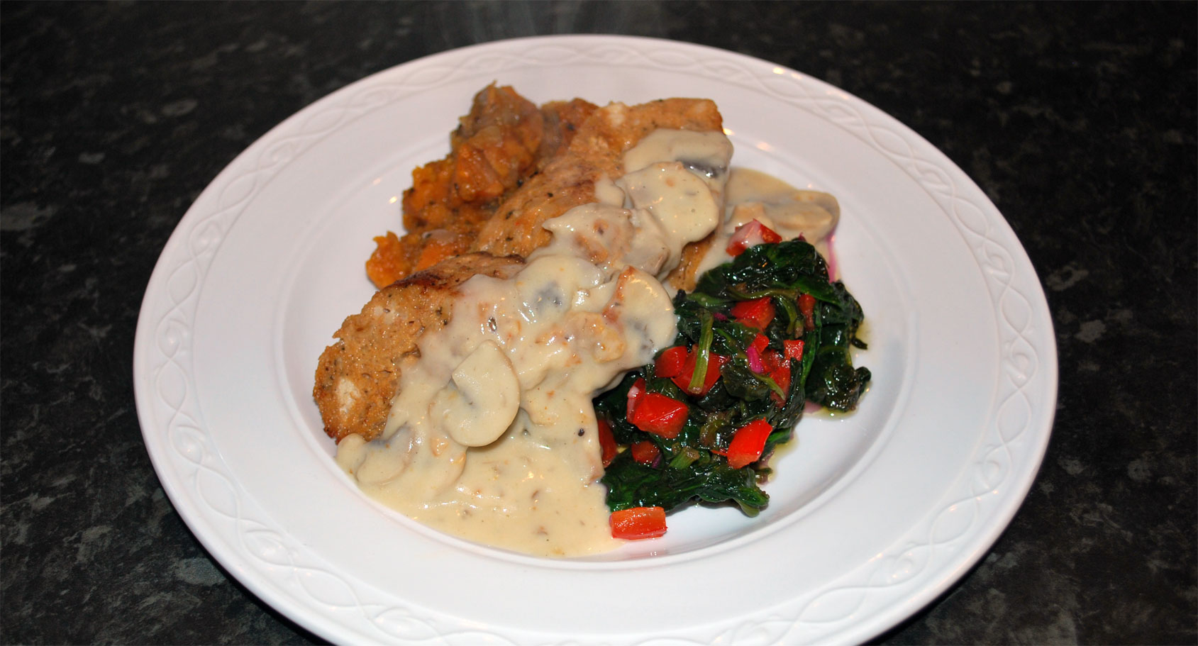 Escalope of Chicken with Sweet Potato, Mushroom & Grain Mustard Sauce with Spinach & Pimento