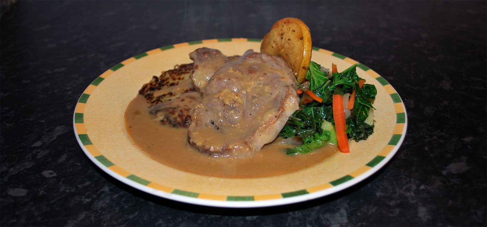 Pork Loin Steak  with Grilled Apple & Dijon Sauce
