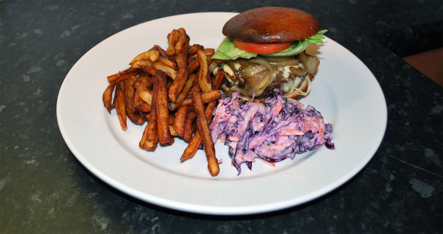 Burger & Chips with Red Cabbage Slaw