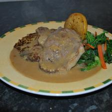 Escalope of Pork in Stilton Sauce with Apples & Celery