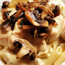 Chicken in a White Wine & Cream Sauce with Garlic Mushrooms