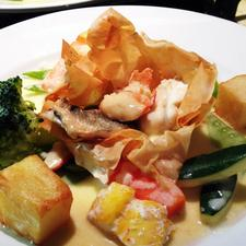 Filo Basket of Seafood in Noilly Prat Sauce
