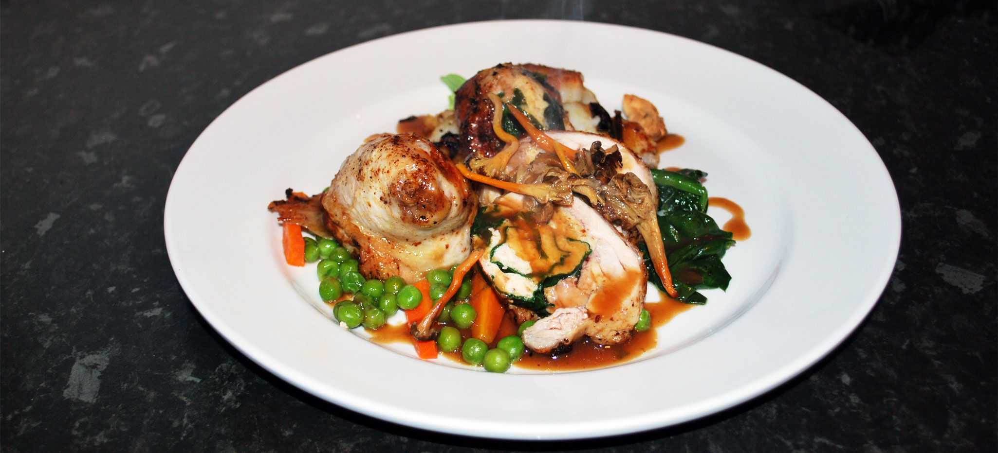 Chicken Leg filled with Wild Mushroom Stuffing